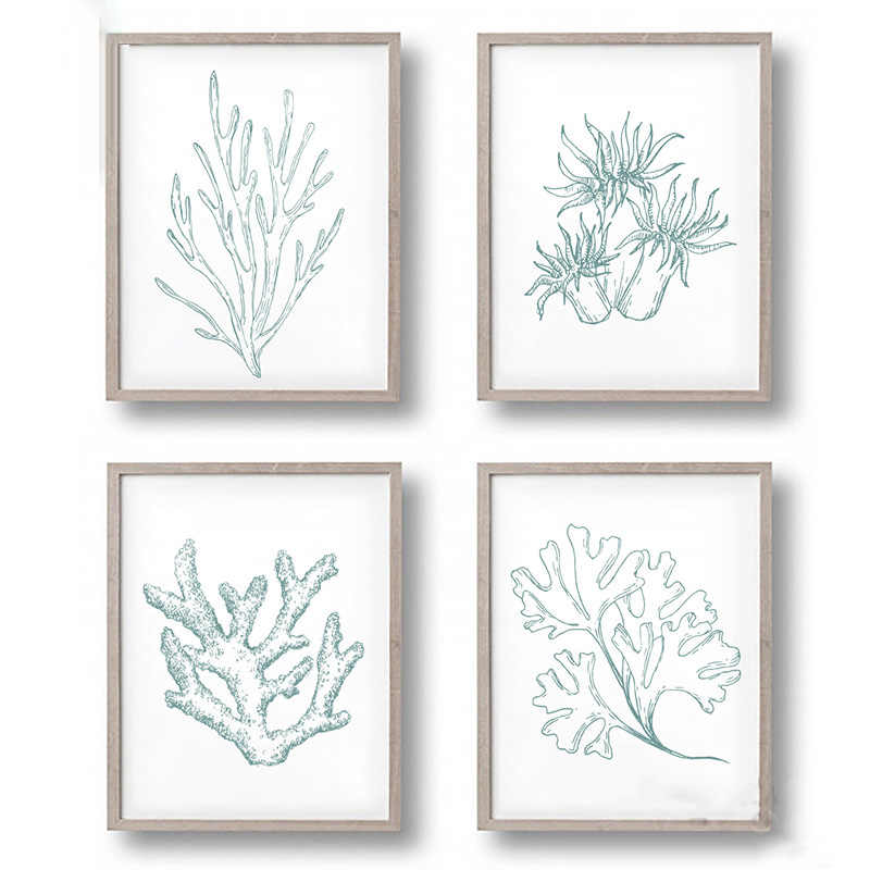 Sea Life Plant Canvas Art Print Painting Poster, Coral Wall Pictures for Home Decoration, Home Decor