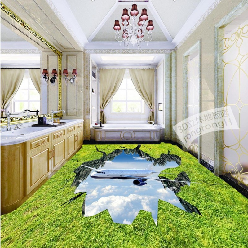 Free shipping High - definition grass to crack 3D outdoor floor painting custom vintage floor baby room living room wallpaper 3d free shipping white black rhodic deep green vintage crack paint wallpaper pvc wallpaper waterproof