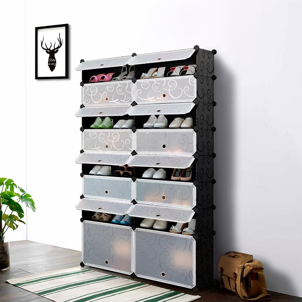 Ikayaa Multi Use 32 Pairs Cube Plastic Shoes Rack 16 Grids
