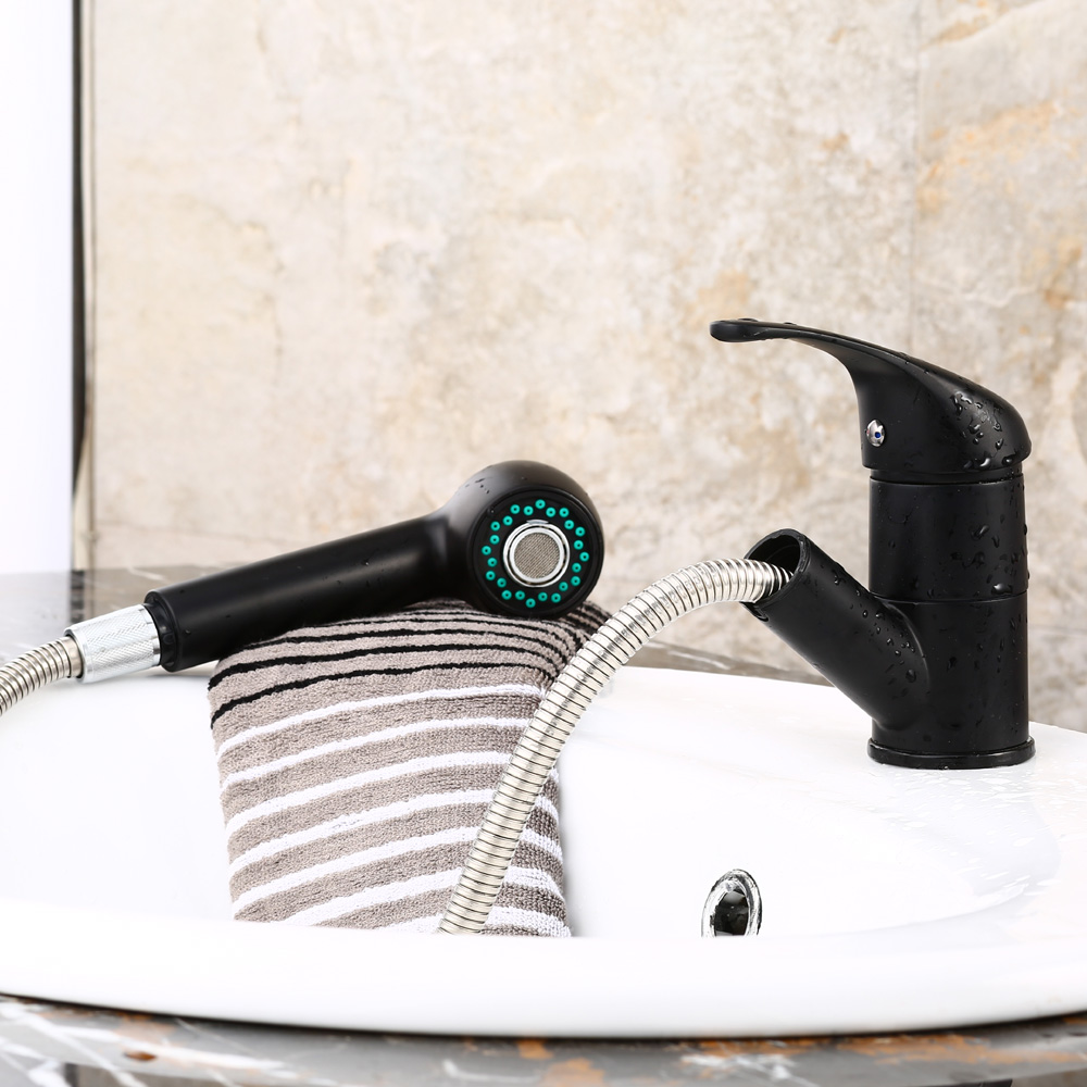 ФОТО New Pull Out Brass Black Kitchen Faucet Sink Mixer Tap With Sprayer Head B3270