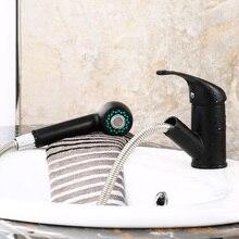 Новый Pull Out Латунь Черный Кухонный Кран Смеситель Для Мойки Кран С Распылителем Головы B3270