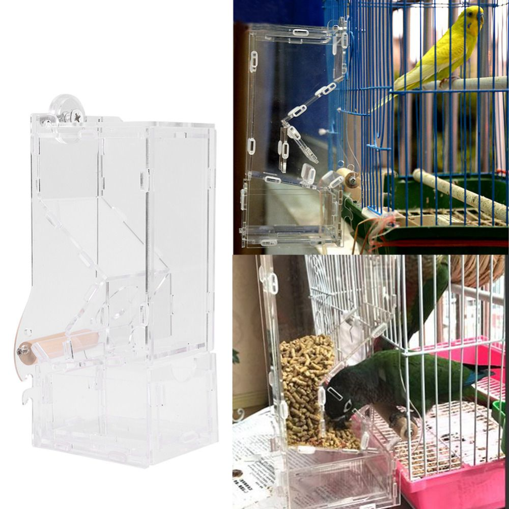 Automatic Bird Feeder Pet Bird Cage Feeder Food Container Feeding Parrot Automatic Feeders