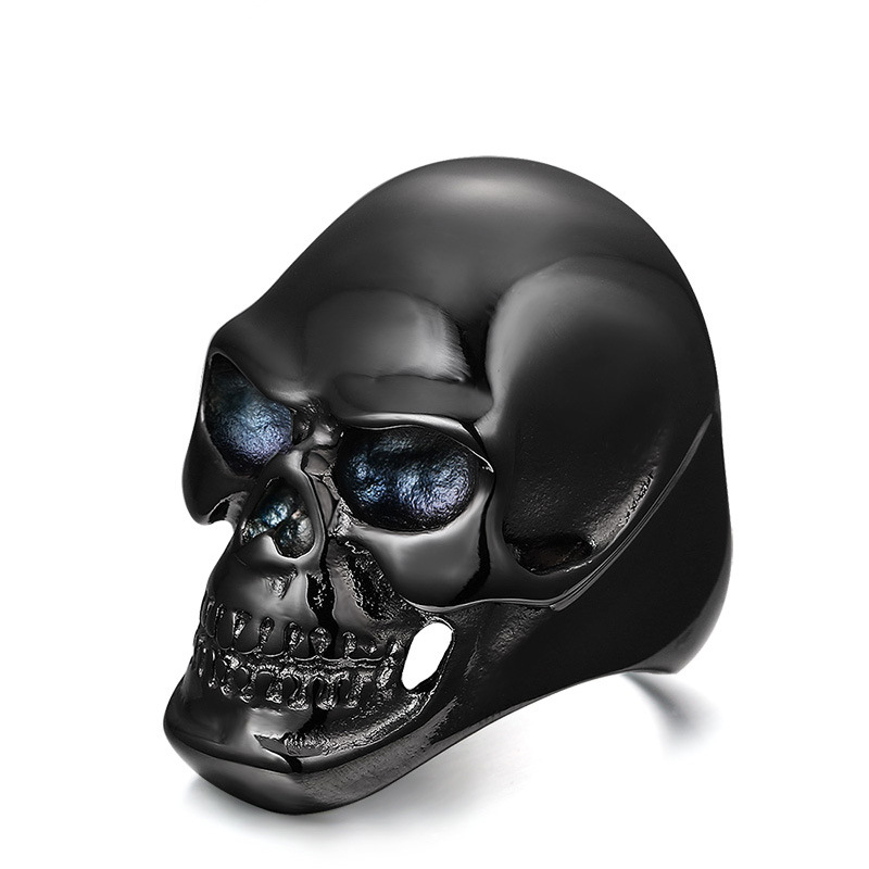 Punk Kito black skull ring men jewelry wild accessories rock caveira titanium steel rings anel masculino anillos bague