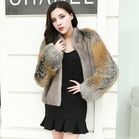 Fur coats made of natural mink fur with natural Red fox fur sleeves natural mink fur jacket
