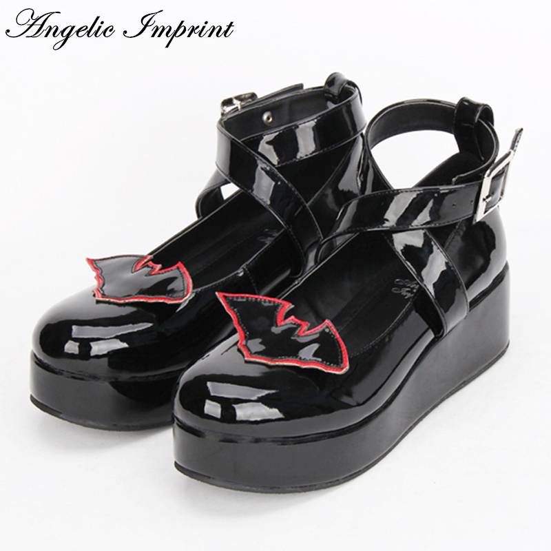 Black Leather Bat Devil Gothic Punk Lolita Shoes Criss Cross Strappy Wedge Shoes contrast piping criss cross teddy