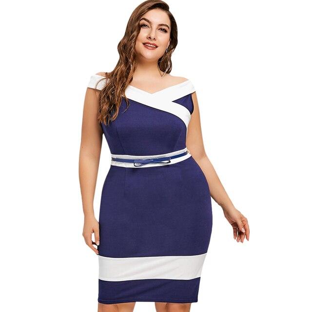 92806ddb958 Kenancy Plus Size XL~5XL Cap Sleeves Two Tone Work Dress Blue White Color  Block