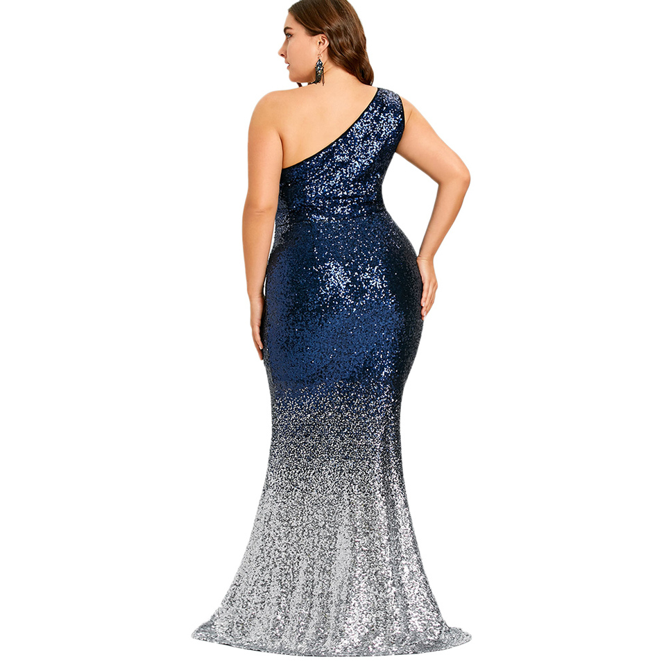 029c239cf925f ROSE GAL Women Maxi Mermaid Sequined Dress Plus Size One Shoulder Bodycon  Female Vestidos Sexy Party Women trumpet Dresses