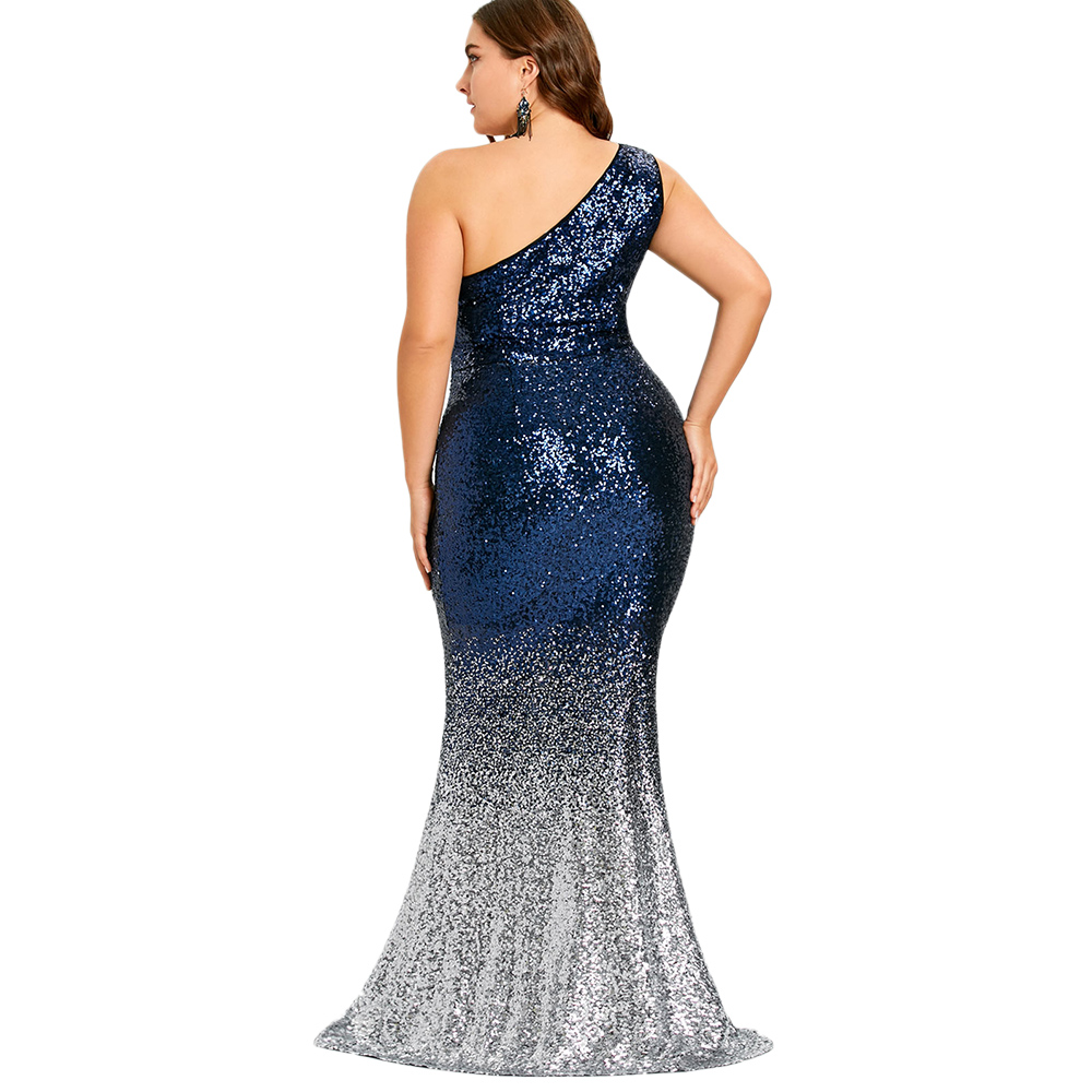 Size Trumpet Party Bodycon Female Plus Vestidos Dresses Women Sexy Mermaid Blue Shoulder Sleeveless Dress Maxi Sequined One Deep wUwAqXS