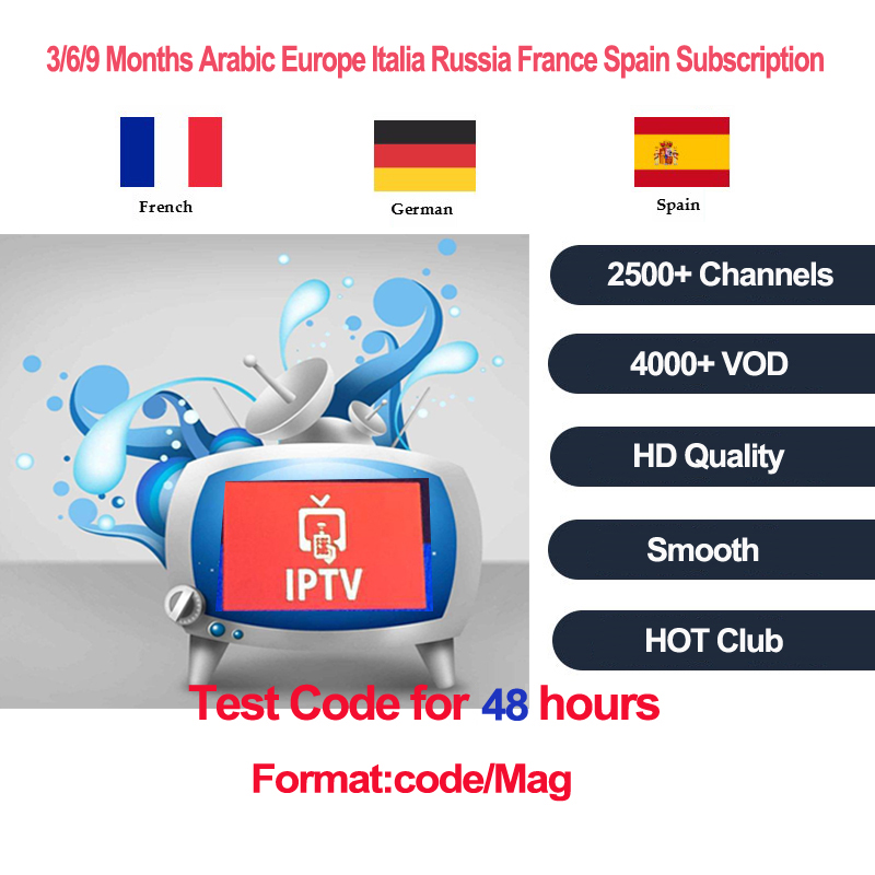 IPTV subscription 3/6/12 Months For Android TV Box Mag 254 256 device+Italy Belgium Germany UK Spain Arabic Adult 2500 Channels