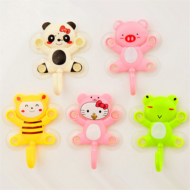 1PC Cute Animal Suction Cup Towel Rack Hook Holders Frog Panda Pig Bee Pattern Bathroom Sets Cartoon Sucker Suction Hook
