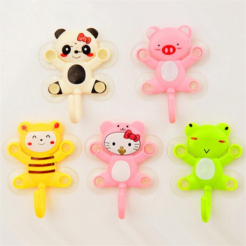 1PC Cute Animal Suction Cup Towel Rack Hook Holders Frog Panda Pig Bee Pattern Bathroom Sets Cartoon Sucker Suction Hook