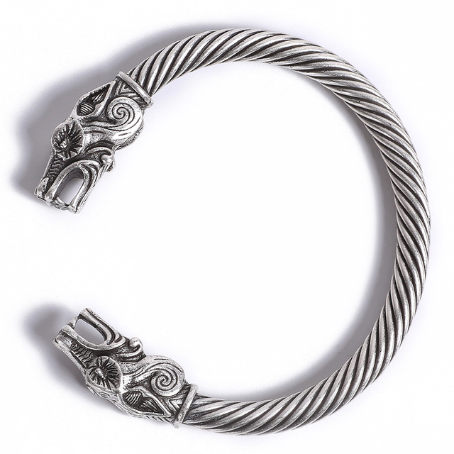 Viking Wolf Dragon Tin Bracelet Coyote Bangle Pagan Nordic Wolves Cuff