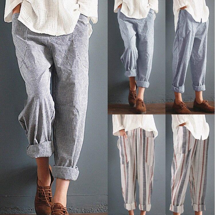 Women's High Waist Loose Stripe Harem Pants Big Size Long Trousers Elastic Waist Cotton Linen Pants Ankle Length Haren Pants