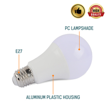 Remote Control RGBW E27 LED BULB Smart Led Bulb Colorchange AC85-265V 10W PC Alumium RGB White Lightings Round