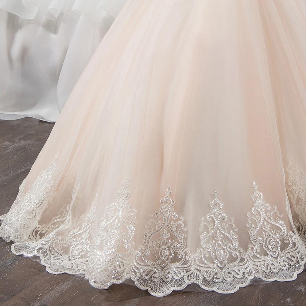 Fantaisie Champagne fleur fille robe avec ruban Beige arc col rond maille robes de bal enfants sainte Communion robes pour noël 2018 - 5