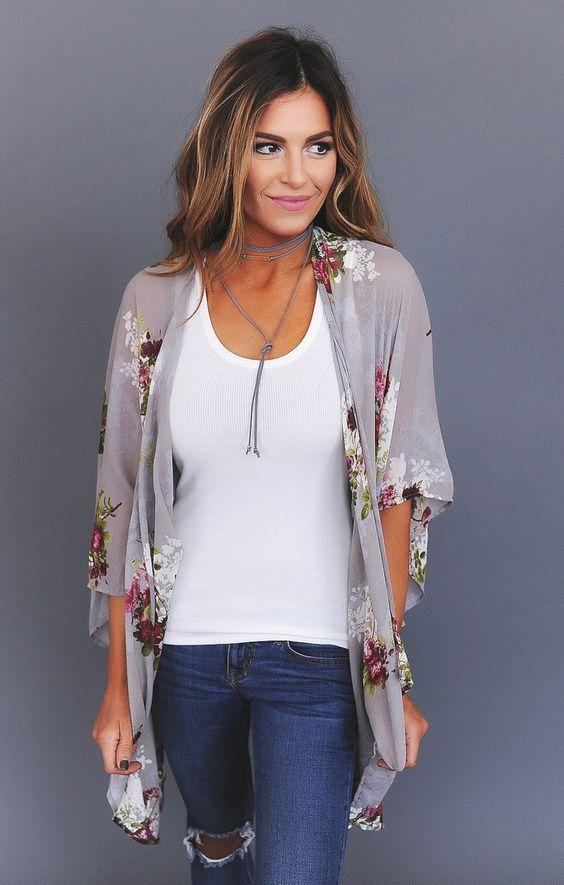 Awesome-Grey-Floral-Kimono