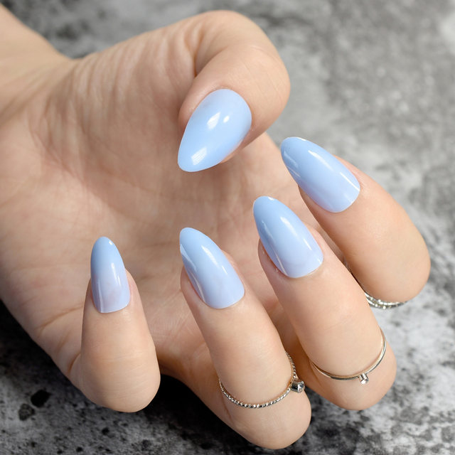 24Pcs Candy Short Stiletto Nails Light Blue Pointed False Nail DIY Art Full Cover Manicure Tools