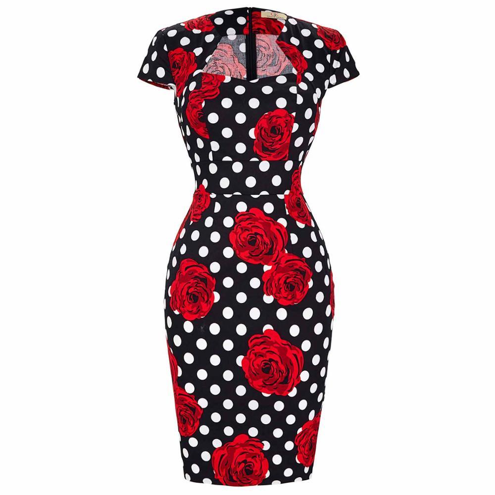 Сексуальное тонкое женское летнее платье, облегающее платье-карандаш из хлопка размера плюс 3XL, винтажное платье 50 s, платье для офиса, платье для работы - Цвет: 11