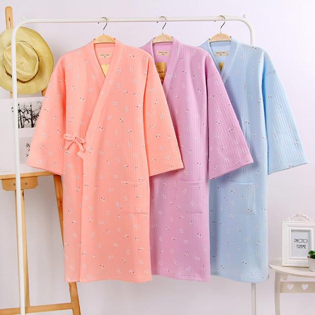 Outono Mulheres Dormem Robe Quimono de Algodão Camisola Collar Impresso Feminino Roupões Pijama Flor Respirável Casual Início Vestido H64