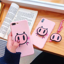 For Samsung Galaxy S10 S8 S9 PLUS NOTE 8 9 Case Pig Nose Soft Phone Strap Rope J330 J530 J730 J5 J7 2017 cases