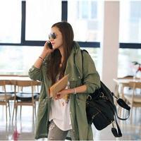 2018 핫 싱글 후드 공구 코트 여성 위로 해골 군대 녹색 재킷 두개골 자수 자수 허리 재킷