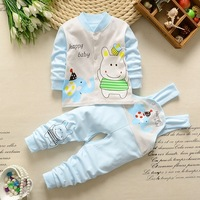 Baby Girl Boy Newborn Clothes 2018 Autumn Print Long T Shirt Tops Overalls Pants 2PCS Outfits