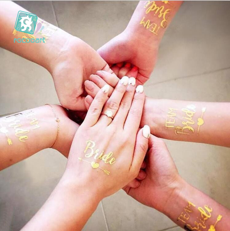 1Pcs Gold Flash Team Diamond Bride Crown  Temporary Tattoo Wedding Party Decor Hen Supplies Photo Bridesmaid Glitter Tatto