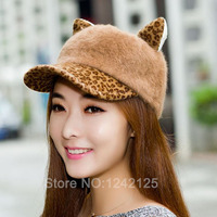 Autumn Winter Cat Ear Rabbit Hair Baseball Lovable Leopard Print Fashion Adult Adjustable Animal Active Madam