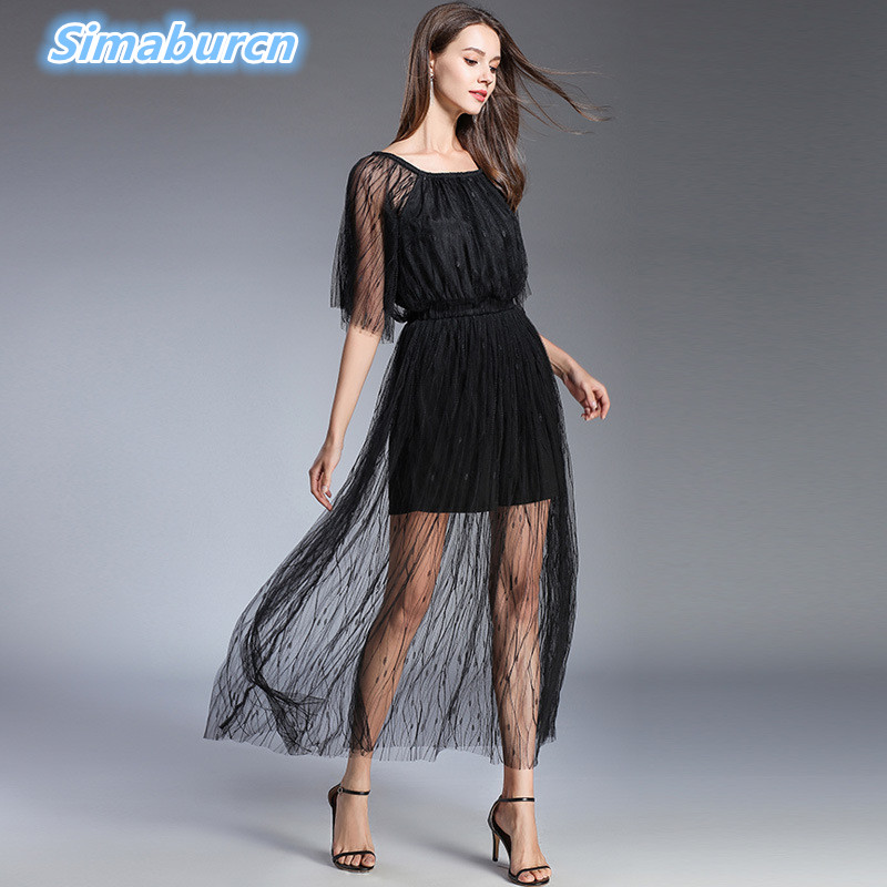 High Quality Summer Women Black Dress Short Sleeve Temperament Ladies Embroidery Robe Perspective Vintage Mesh Dresses Clothing in Dresses from Women 39 s Clothing
