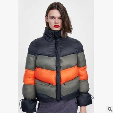 New Winter Women Cotton Warm Casual Parkas Long Sleeve Stand Collar Clothing Thicken Stripe Outerwear Fashion Tops