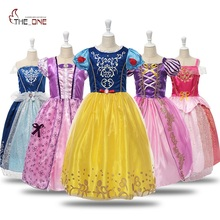 Girls Princess Dresses Kids Girl Rapunzel Cosplay Party Dress Costume Children Cinderella Sleeping Beauty Belle Clothing цена 2017