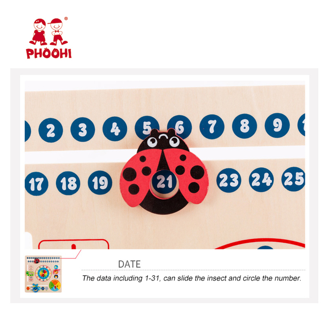 Wooden Calendar Toy Multifunction 6 in 1 Hanging Kids Clock Date Weather Chart Early Educational Learning Toy