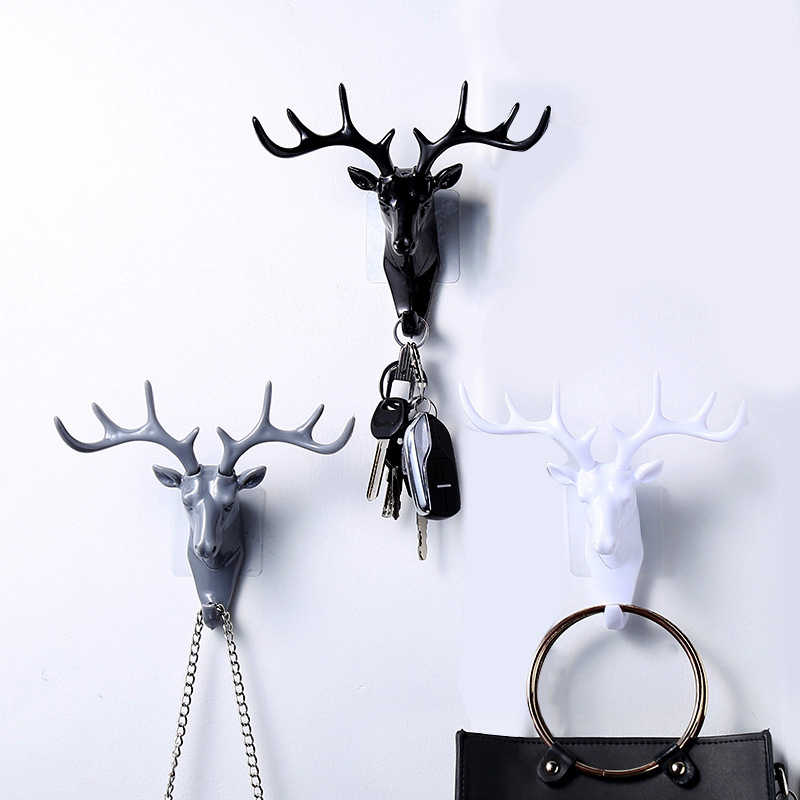 1Pcs Deer Head Self Adhesive Hook Hanger Bag Keys Cloth Sticky Holder Wall Door Hook Hanger ELK Ornament For Home Office Decor