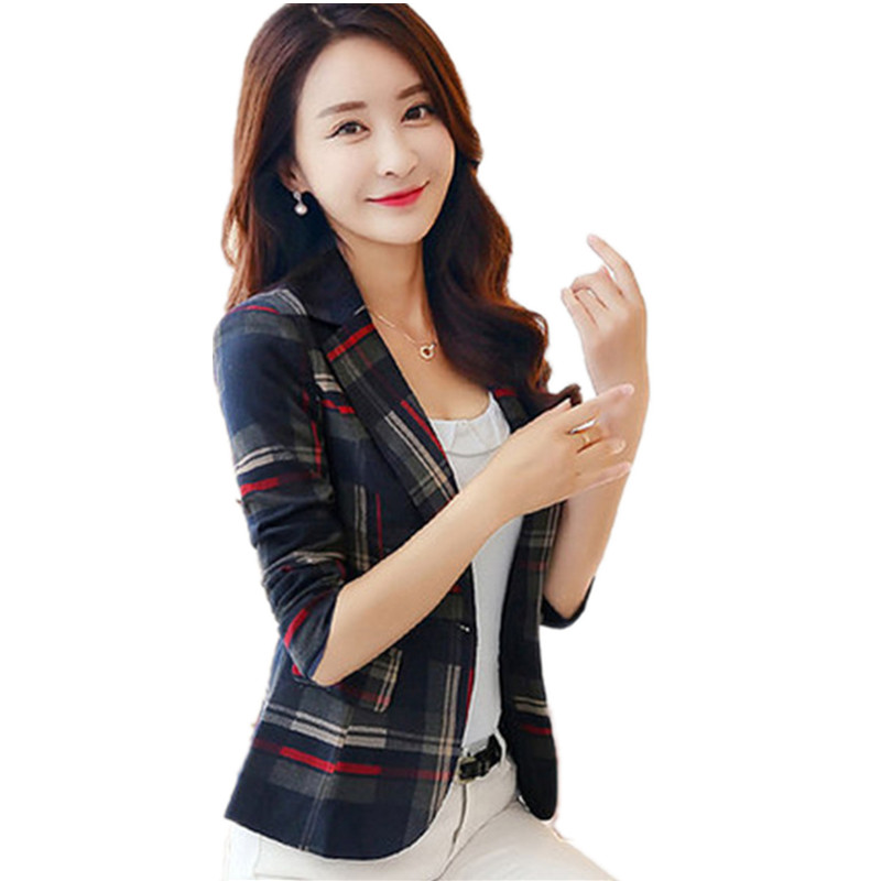 2019 Spring Women's Blue Red Plaid Blazer Slim Ladies Long Sleeve Short Suit Jacket One Button Casual Outerwear Coat