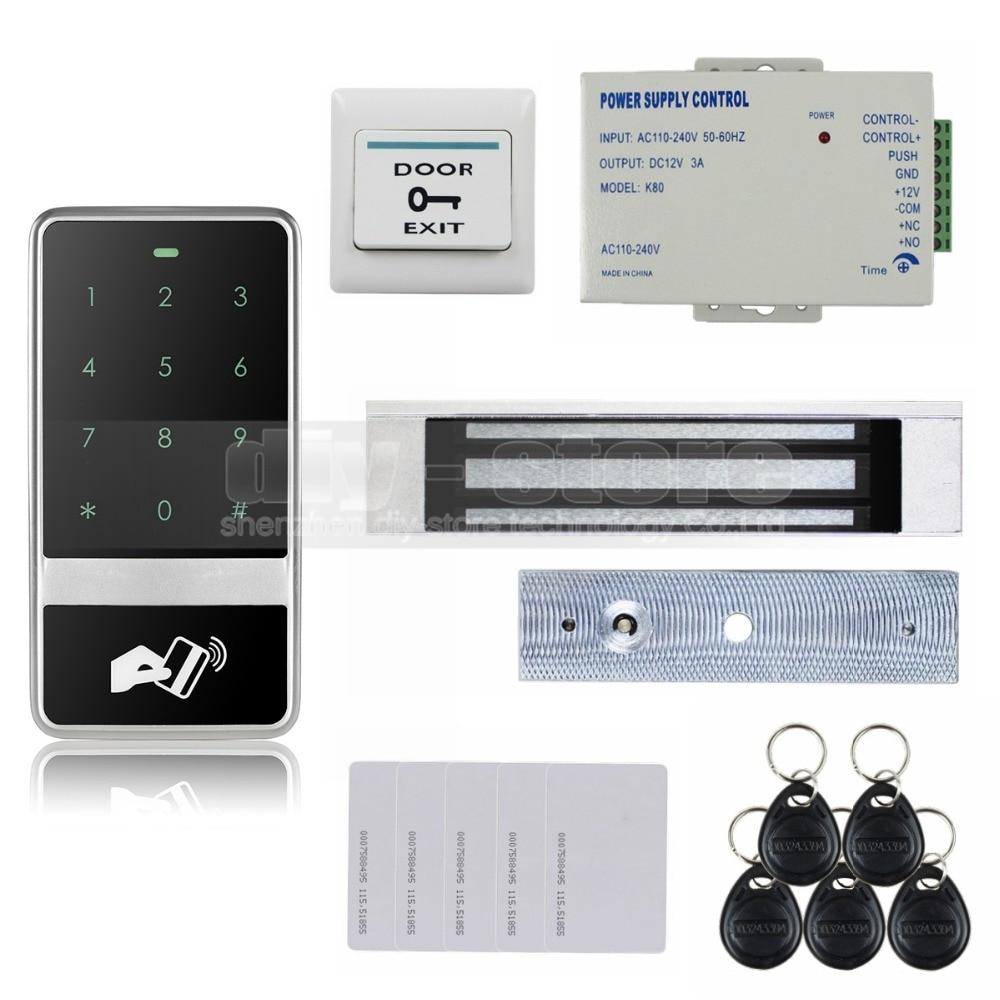 DIYSECUR 8000 User 125KHz RFID Reader Password Touch Keypad Door Access Control Security System Kit C60