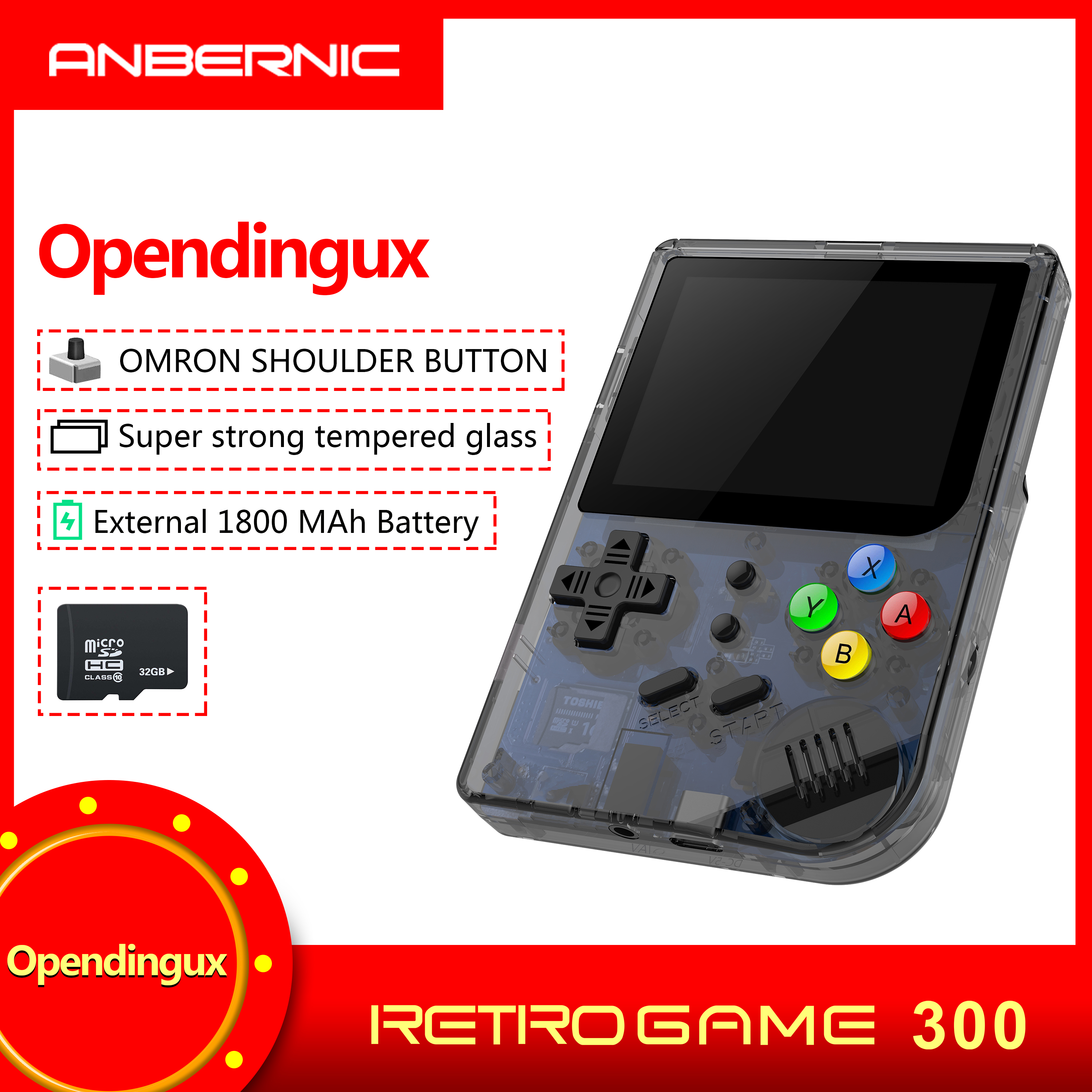 Rg300 3 Inch Video Games Retro Console Build-In 3000 Games Handheld for  PS1 Neogeo Gbc Gb Md Open System RG 300 Retro game 300