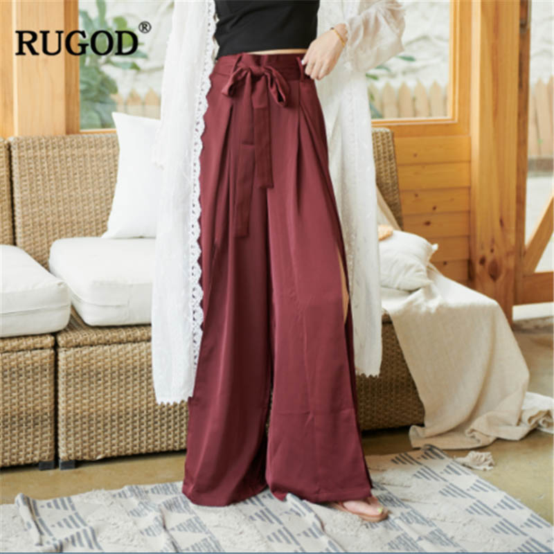 RUGOD High waist women pants wide leg loose chiffon red elegant office laides vintage modis waistband silky trousers