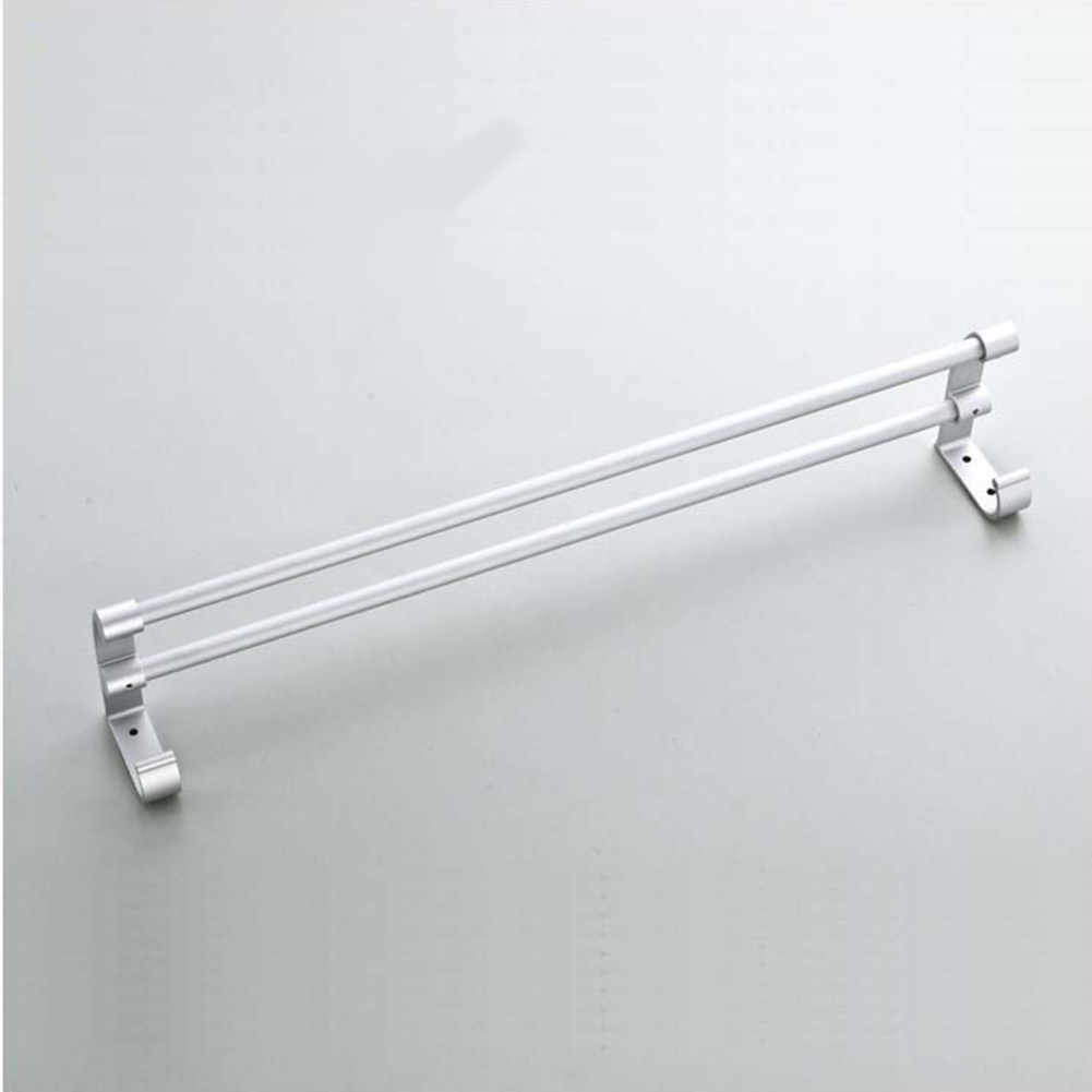 Holder Towel Shelf Rail Wall Mounted Accessory Towel Rack Storage Organizer Rack Durable Dual Rod