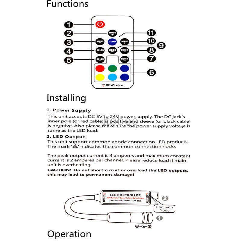 Mini RGB Led controlador remoto DC5-24V 17key controlador inalámbrico RF con 4pin hembra DC 5050 12A RGB Led Luz de tira cinta de iluminación