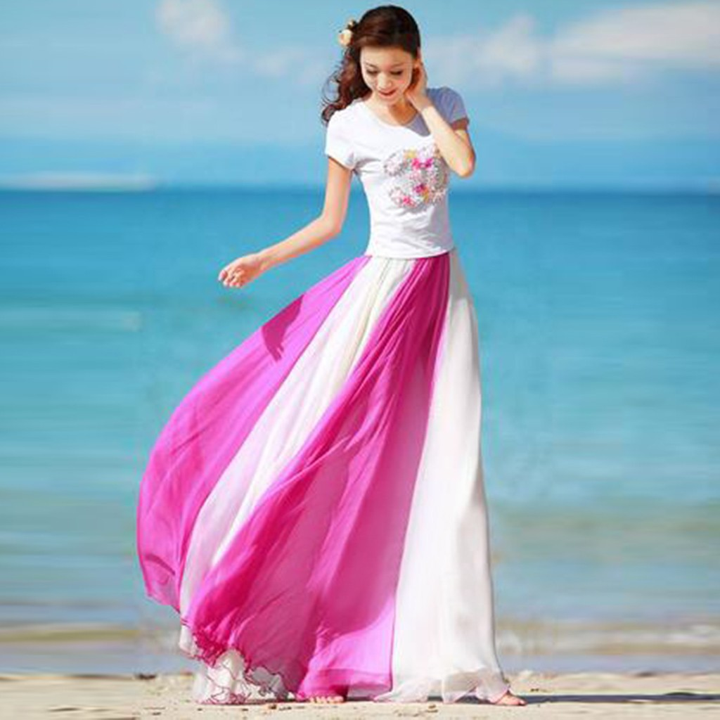 Feitong Beach Womens Skirts Fashion Full Circle High Waist Loose Ladies Skirts Flowing Color Matching Chiffon Bohemian Skirt