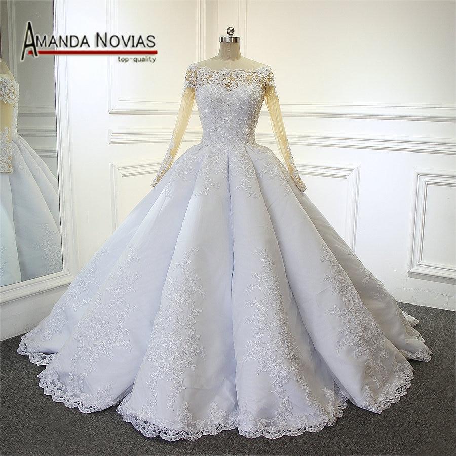 Amanda Novias Luxury wedding dress 2019 robe de soiree New Arrival Wedding  Dresses With Big Pleat 474054df4c32