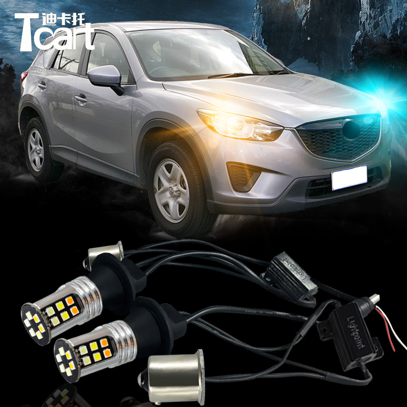 Tcart three color 2pcs Bau15s 1156 Switchback LED Turn Signal Lights DRL Bulbs for mazda CX-5 CX5 2012-2017 ijdm no hyper flash bau15s 7507 white amber switchback led bulbs w reflector mirror design for front turn signal lights or drl
