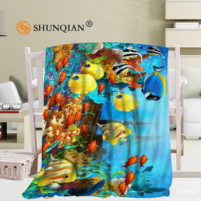 Récif sous-marin personnalisé océan tropical poissons corail motifs couverture douce décoration chambre 56x80 pouces 50X60 pouces 40X50 pouces