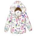2016 Новая Зимняя детская одежда Граффити Парки стиль теплые девушки куртки и пальто 2-8 Т С Капюшоном Девочка верхняя одежда и ветровки