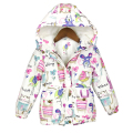 2016 New Winter children clothing Graffiti Parkas style warm girls jackets & coats 2-8T Hooded Baby Girl Outerwear & parkas