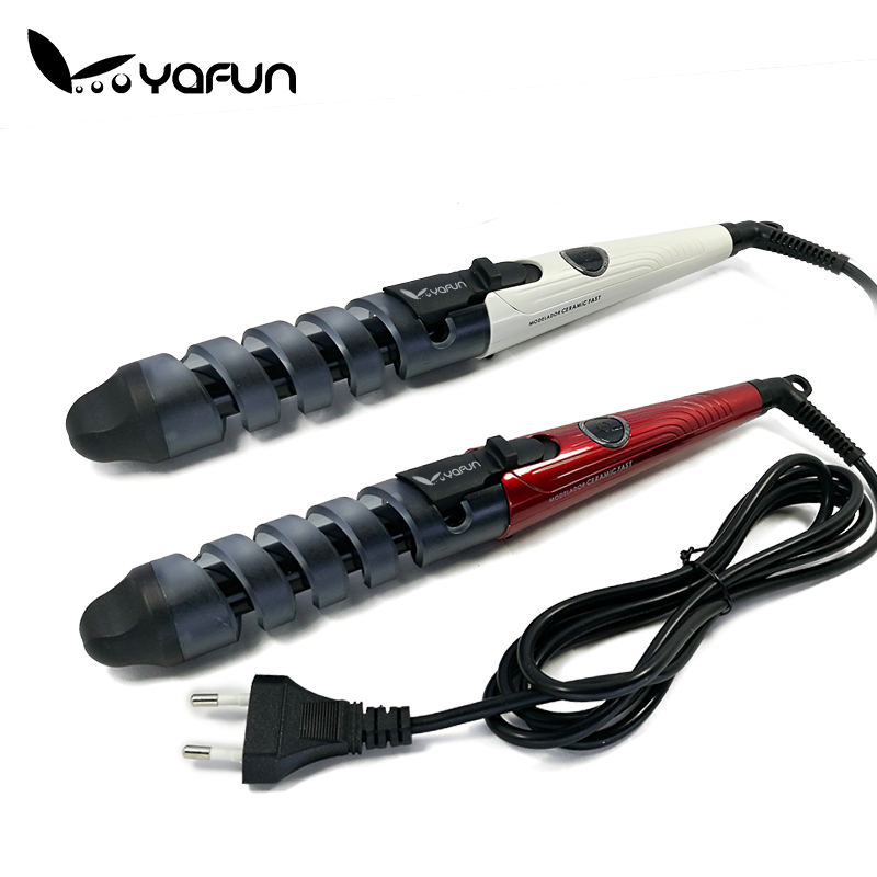 New 2016 White Red Electric Magic Hair Styling Tool Hair Curler Roller Pro Spiral Curling Iron Wand Curl Styler Rizador De Pelo