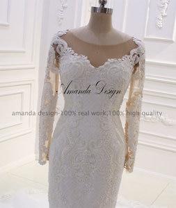 Image 2 - Amanda Design robe mariee O neck Long Sleeve Lace Appliqued Pearls Wedding Dress Customized