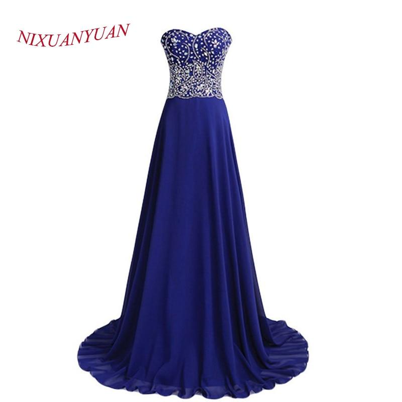 Echt Fotos Elegantes Abendkleid 2015 Eine Linie Kristall Chiffon Blau Formale Kleider vestido longo Nach Maß E-02