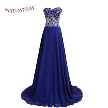 Real Photos Elegant Evening Dress 2015 A Line Crystal Chiffon Blue Formal Gowns vestido longo Custom Made E-02