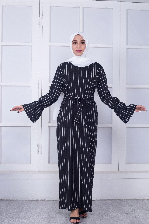 Elegant Cotton Striped Dubai Kaftan Dress 1